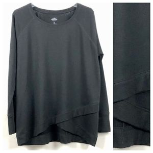 Scoop knit diagonal hem soft knit tunic